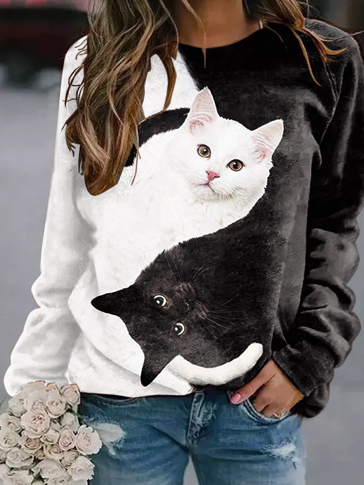 Cotton-Blend Casual Sweatshirt