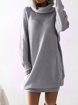Turtleneck Paneled Basic Casual Sweater Dress