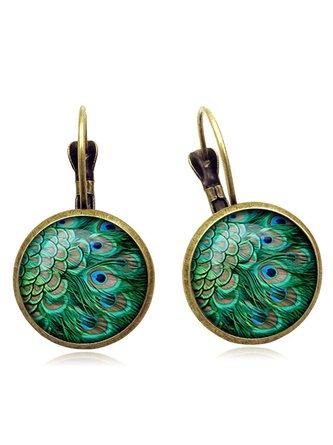 Vintage Peacock Feathers Pattern Earrings Bohemian Bronze Time Gem Cabochon Dangle Earrings