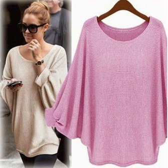 Knitted Casual Solid Batwing Sweater