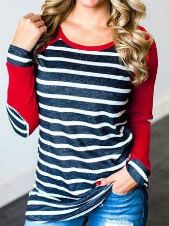Basic Round Neck Striped T-shirt