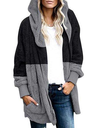 Womens Winter Hooded Fluffy Coat Fleece Fur Coats