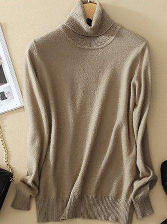 Turtleneck Long Sleeve Wool Blend Sweaters