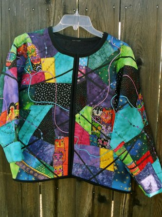 Multicolor Crew Neck Long Sleeve Abstract Statement Outerwear