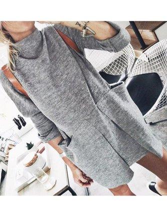 Gray Plain Cotton Casual Turtleneck Dresses