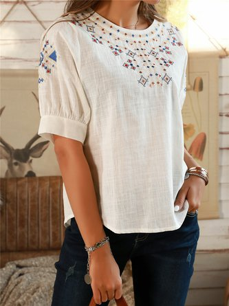 Off White Tribal Boho Embroidered Cotton Shirts & Tops