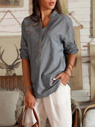 Stripe-Blue Shift Cotton-Blend Long Sleeve Shirts & Tops