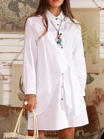 Off White Shirt Collar Long Sleeve Cotton Dresses