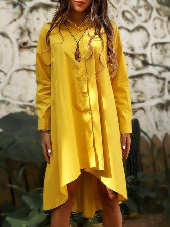 Yellow Shift Vintage Cotton Shirt Collar Dresses