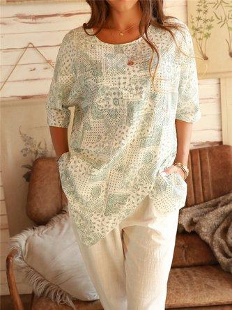 Lightgreen Shift Cotton Casual Shirts & Tops
