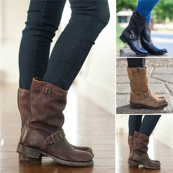 Plus Size Adjustable Buckle Ankle Boots