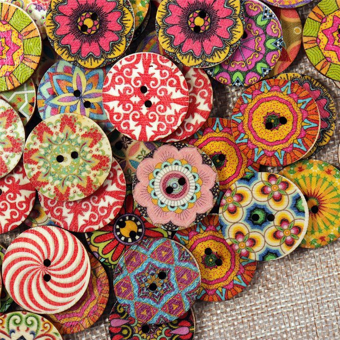 Bohemian Pattern Wooden Sewing Button 20mm 50pcs