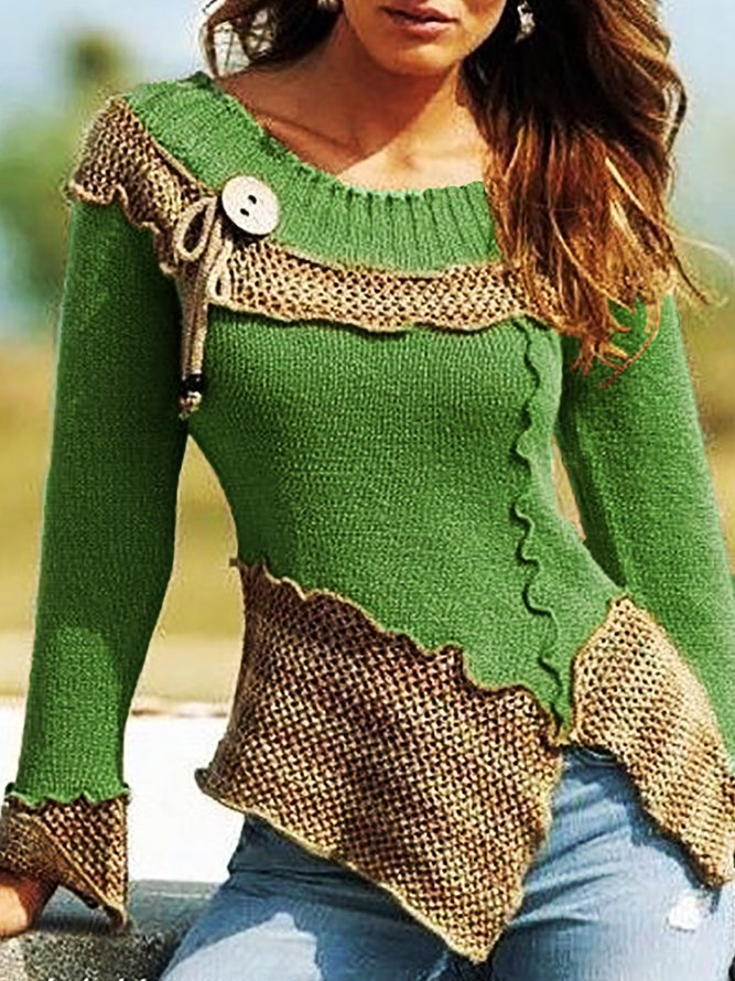 Casual Plain Crew Neck Shift Long Sleeve Vintage Knitted Sweater