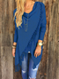Knitted Long Sleeve Asymmetrical Fringed Solid Plus Size Sweater