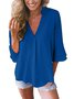 Women Casual V Neck Solid Business Blouse