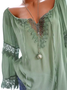 V Neck Casual Long Sleeve Cutout Paneled Lace Blouses