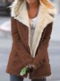 Casual Plain Turn-Down Collar Buttoned Long Sleeve Coats