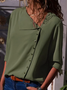 Shift Long Sleeve Casual Solid Buttoned Blouse