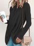 Spring Fall Cowl Neck Asymmetrical Solid Casual T-Shirts