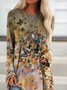 Deep Khaki Casual Long Sleeve Butterfly Printed Tunics Tops