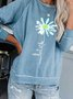 Light Blue Printed Casual Round Neck Cotton-Blend Sweatshirts