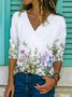 Casual Cotton-Blend Floral-Print Long Sleeve Shirts & Tops