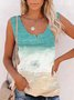 V Neck Color-Block Sleeveless Shirts & Tops