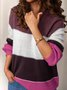 Plus Size Long Sleeve Casual Stripes Sweater