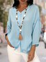 Long Sleeve V Neck Solid Casual Shirts Blouses