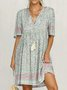 Holiday Vintage Floral-Print Light Blue Half Sleeve V Neck Cotton-Blend Dresses