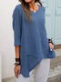 Vintage Cotton Half Sleeve Buttoned Asymmetrical Shirts & Tops