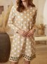 Polka Dots Printed Long Sleeve Casual Dresses